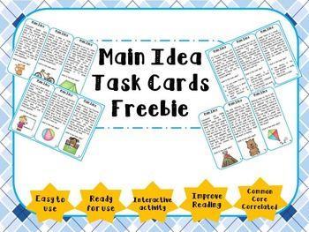 Main Idea Task Cards Freebie- free
