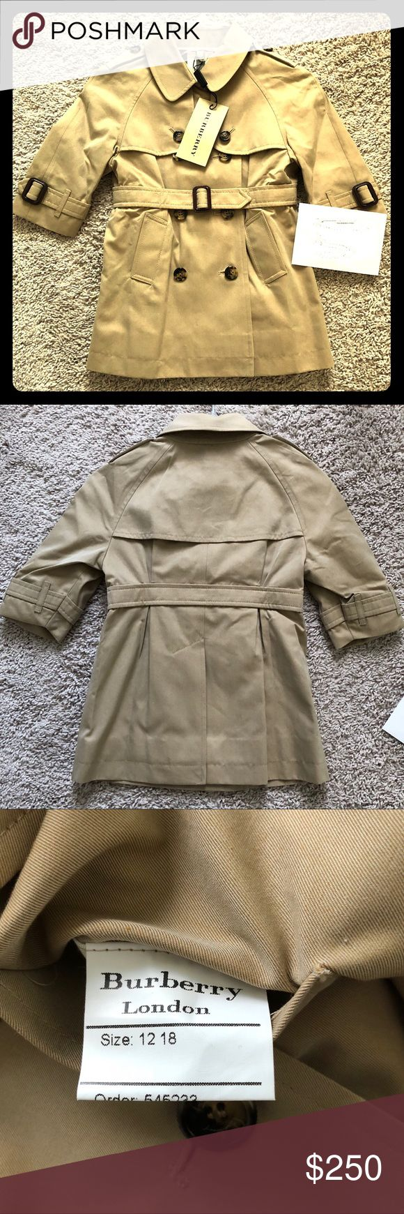 Burberry Baby Trench Coat Burberry London Baby Trench Coat  Size 12-18 Months Brand new with tags Color: Honey Brown leather covered buckles, shades of brown button detail.  Check print lining.  Made in England/UK. Double breasted with belt. Pet free smoke free home.   Unisex Perfect for a baby boy or baby girl #burberrybaby Burberry Jackets & Coats #babygirlcoats