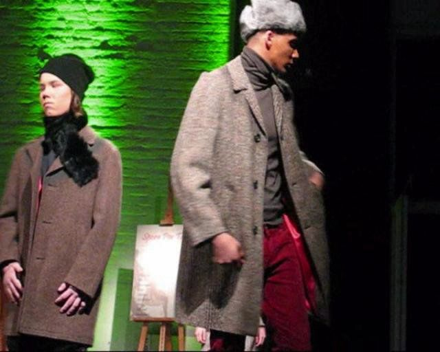 Menswear design collection (trad.) #trad in a fashion show at the Korjaamo Culture factory, Helsinki Finland.