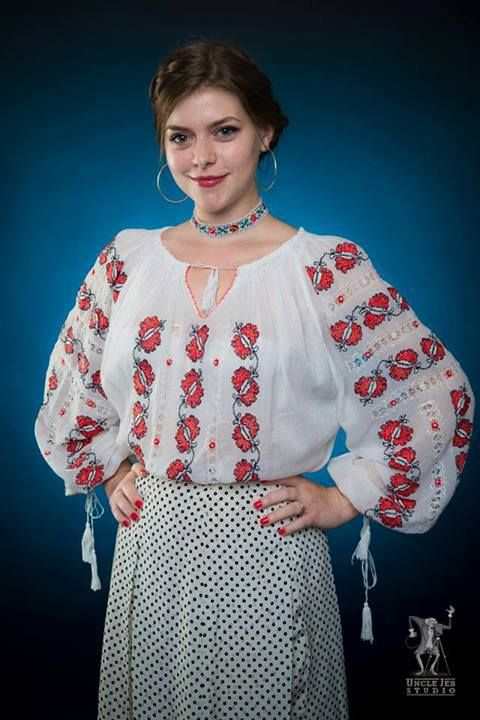 Alina is wearing the traditional Romanian Label blouse with embroided butterflies accessoriezed with a traditional necklace! Photo: Uncle Jeb Studio