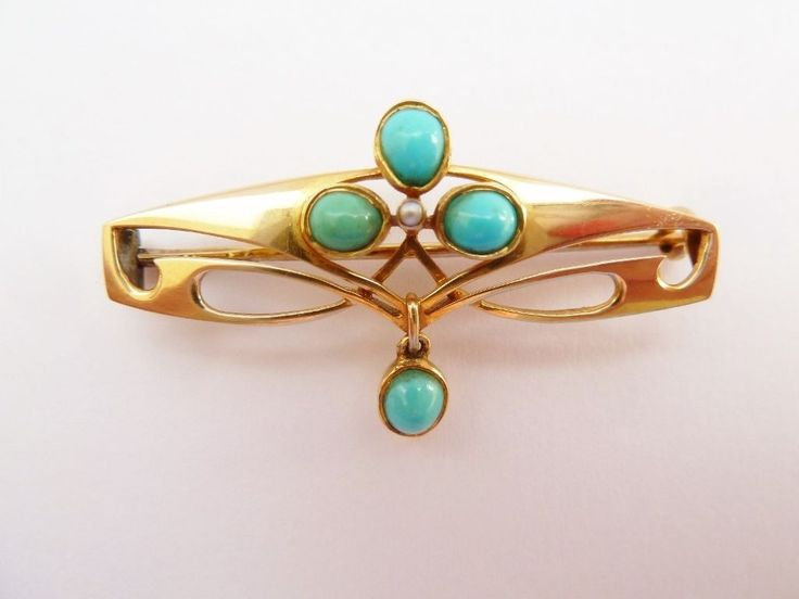 ANTIQUE ART NOUVEAU MURRLE BENNETT SIGNED BROOCH 15CT GOLD & TURQUOISE in Jewellery & Watches, Vintage & Antique Jewellery, Vintage Fine Jewellery   eBay