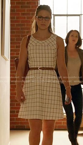 Kara's white windowpane checked dress on Supergirl.  Outfit Details: https://wornontv.net/60909/ #Supergirl