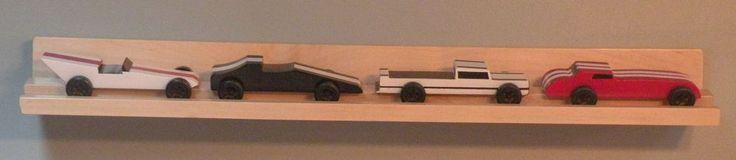 pinewood derby 4 car display shelf