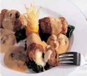 Veal rolls Bocconcini alla Laziale Save Print Prep time 35 mins Total time 35 mins Author: Recipe developed by O'Sole Mio (1 877 435-4111) Recipe type: main Serves: 2 Ingredients 6 veal scallopini (2½ oz) each 70 g 3 prosciutto (large slices) 1 Friulano cheese (100 g) toothpicks 3 tablespoons canola oil 50 ml all purpose flour as required ⅓ cup mushrooms, sliced 75 g 1 tablespoon butter 1 or 2 shallots ½ cup white wine 1½ tablespoons Brandy (optional) Marsala sauce ( see recipe below) 3 t...