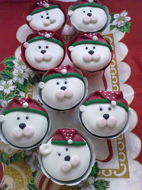 Cupcakes ositos navideños.