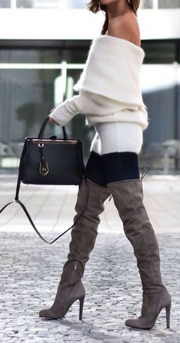 #thanksgiving #outfits Cream Off Shoulder Knit Dress // Leggings // Grey Over The Knee Boots // Leather Tote Bag