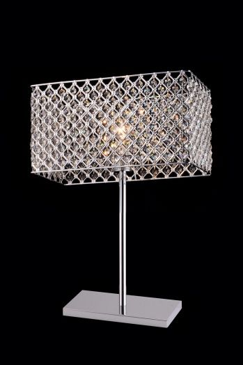 1 light rectangular table lamp with clear crystals