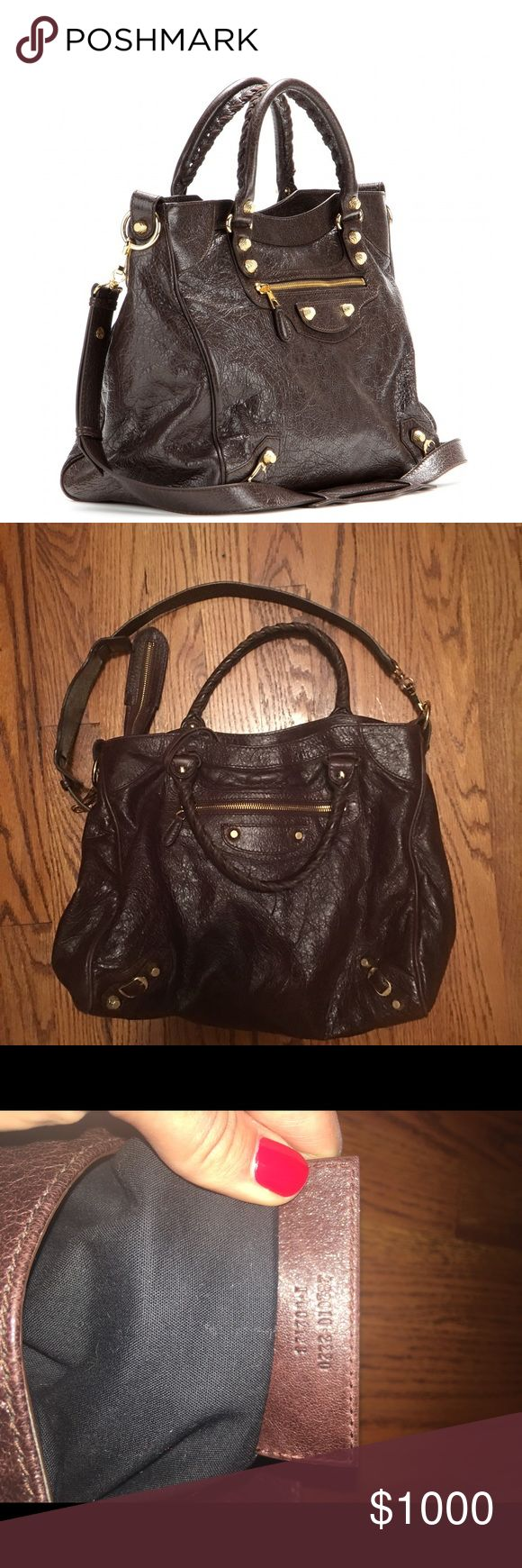 Balenciaga Velo bag in brown 100% authentic! In absolutely amazing condition. Used about 5-10 times. Barely any signs of wear. Inquire/questions/more pics at teressafazio aol. com. Gold buttons. It's a beautiful bag. Balenciaga Bags Shoulder Bags