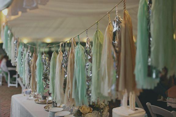 Neutral Teal Silver Tassel Wedding Decorations