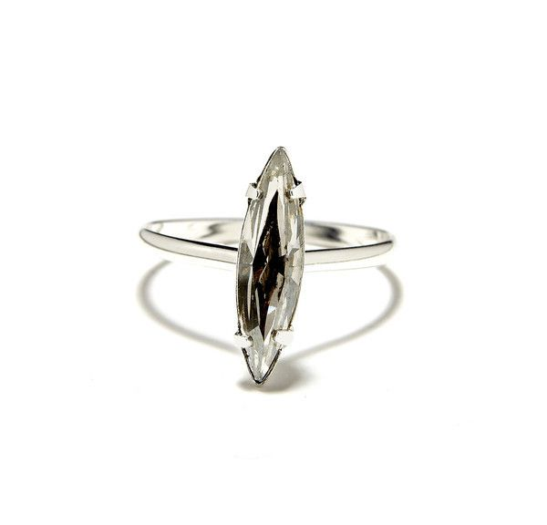 silver crystal shard ring