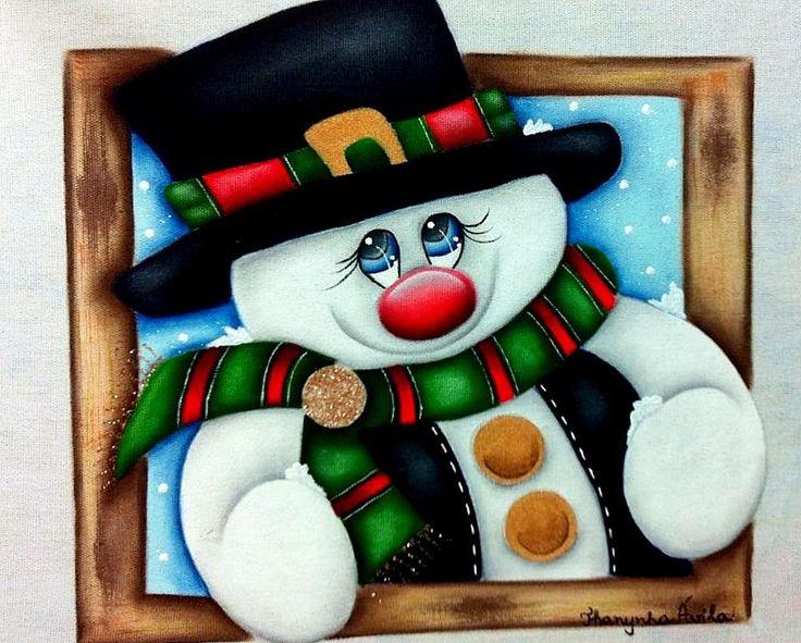 Boneco de neve pintura em tecido por Thanynha Avila -Atelie na Tv