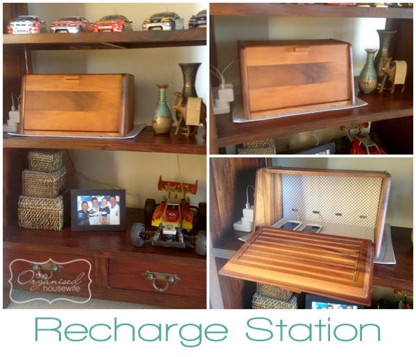 love the idea of converting a bread box into a recharge station.: Idea, Phones Charging Stations, Breads Boxes, Phones Chargers, Phone Charging Stations, Bread Boxes, Recharge Stations, Boxes Recharge, Organi Housewife