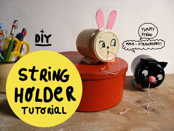 DIY Vintage-Inspired String Holders –super cute and super handy in the studio!