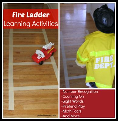 Fire Ladder Learning Activities- A simple masking tape fire ladder can be used to help children learn in many ways.