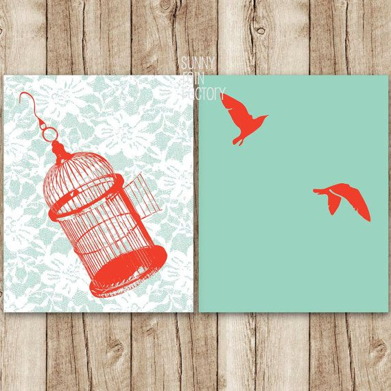 Red And Blue Art Set Bird Printables Cage Wall Decor Birds