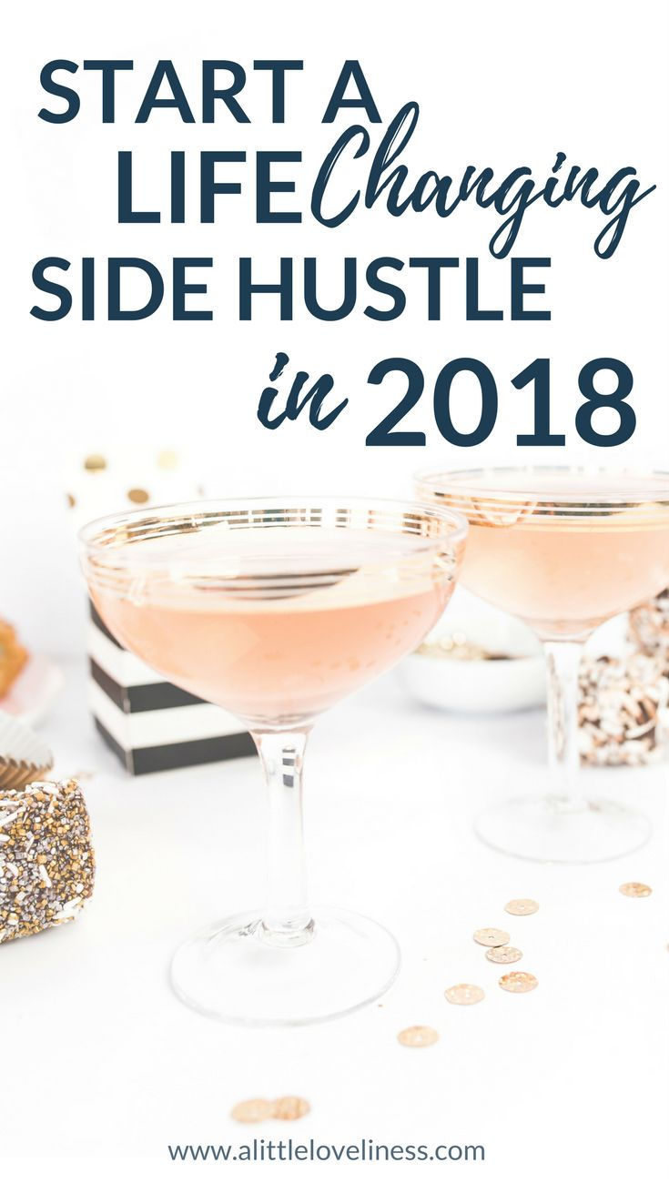 Make 2018 the best year yet by starting a life changing side hustle! This list of part-time jobs and passive income ideas are perfect for creative biz owners, stay at home moms, or anyone looking to make extra money to help pay off debt. #sidehustle #makemoney #passiveincome #newyear #passiveincome