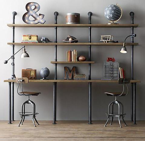 Industrial style desk and shelves  180cm x 180cm Adjustable Desk also available in smaller size (120cm x 180cm) Manhattan Desk Unit In Silver 180cm x 180cm