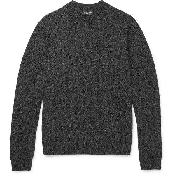 Balenciaga Mélange Wool Sweater ❤ liked on Polyvore featuring men's fashion, men's clothing, men's sweaters, mens woolen sweaters, men's wool crew neck sweaters, mens holiday sweaters, mens crewneck sweaters and mens wool sweaters