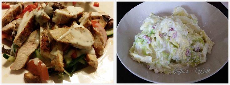 Leckerer Salat mit Putenstreifen und Spitzkohlstreifen in Carbonara Sauce