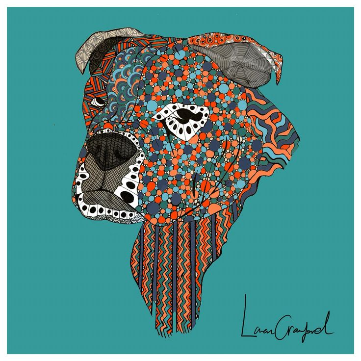 Graphic design by Loren Crawford - drawing by Marie Banke - Old English Bulldog - Aura :)