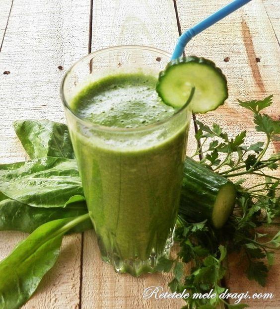 Suc Verde cu castravete Cucumber, pear and mint juice