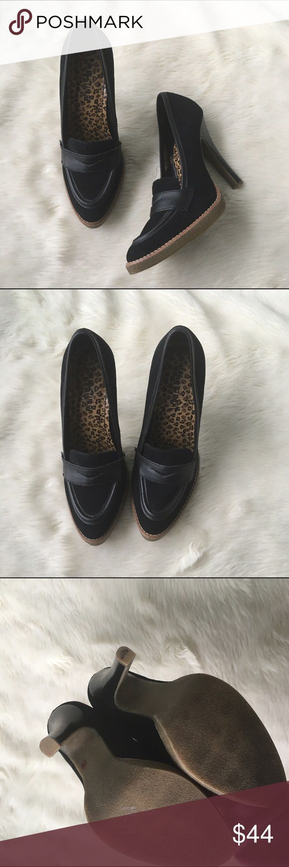 "Colin Stuart suede loafer heels Sz 8 Colin Stuart loafer heels. Excellent condition. Fit about a half size small in my opinion. Heel approx 4.5"" Colin Stuart Shoes"
