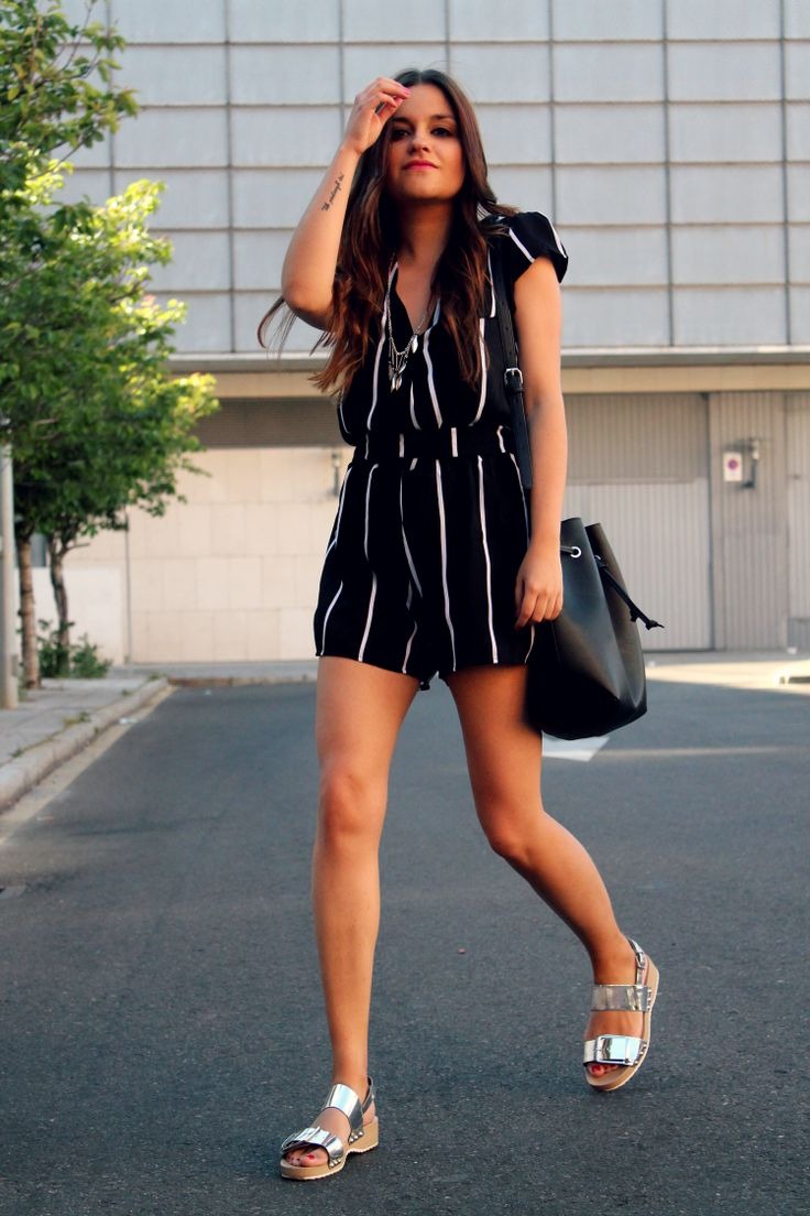 Striped black & white playsuit.with silver sandals #summer ...