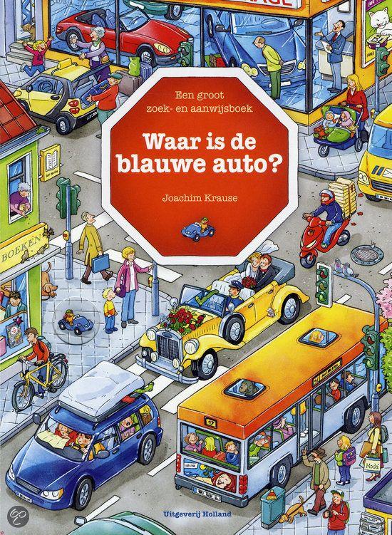 Joachim Krause - Waar is de blauwe auto?   Holland 2012, 16 pagina's   In de stad is altijd wat te beleven. De brandweer moet uitrukken om een poes uit de boom te halen. Bij het tankstation is het superdruk en de gele grijper heeft een schat gevonden bij de bouwplaats. Finns blauwe auto is er steeds bij. Kun jij hem vinden?   http://www.bol.com/nl/p/waar-is-de-blauwe-auto/9200000005534854/