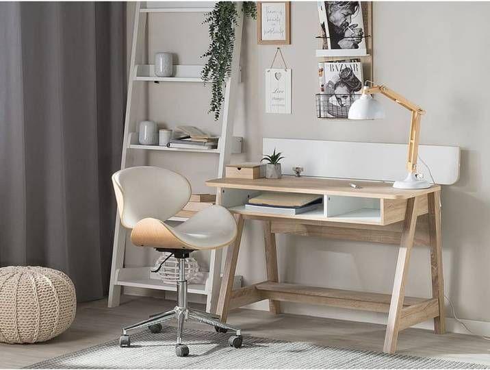 Beliani Schreibtisch Heller Holzfarbton Weiss 110 X 60 Cm Jackson In 2020 Home Desk Home Decor Living Room Sets