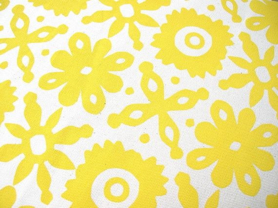 Hand printed Cut Flower Buttercup Yellow Fabric Fat Quarter on Organic Unbleached Cotton. Water-based inks. Helen Rawlinson (UK) on Etsy #organic #print #cotton