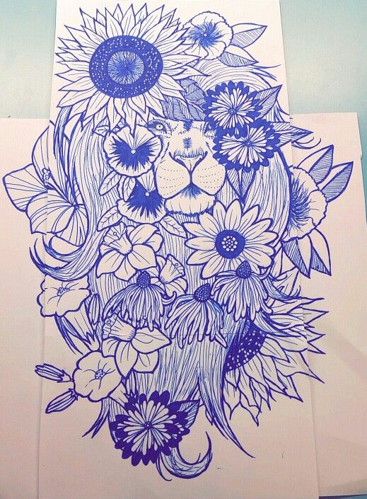 Lion and flower drawing I did with a shoulder tattoo in mind