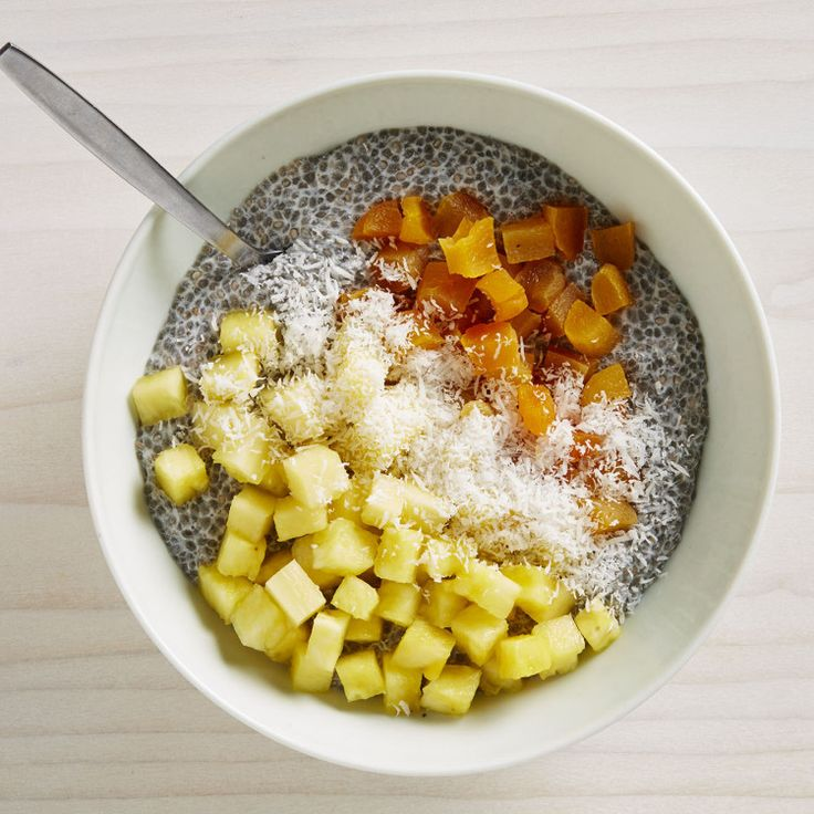 Try to get this in the fridge the night before for the best texture. If you're short on time, just top some pineapple chunks with chopped dried apricots and some pan-toasted chia seeds for a little crunch and protein.