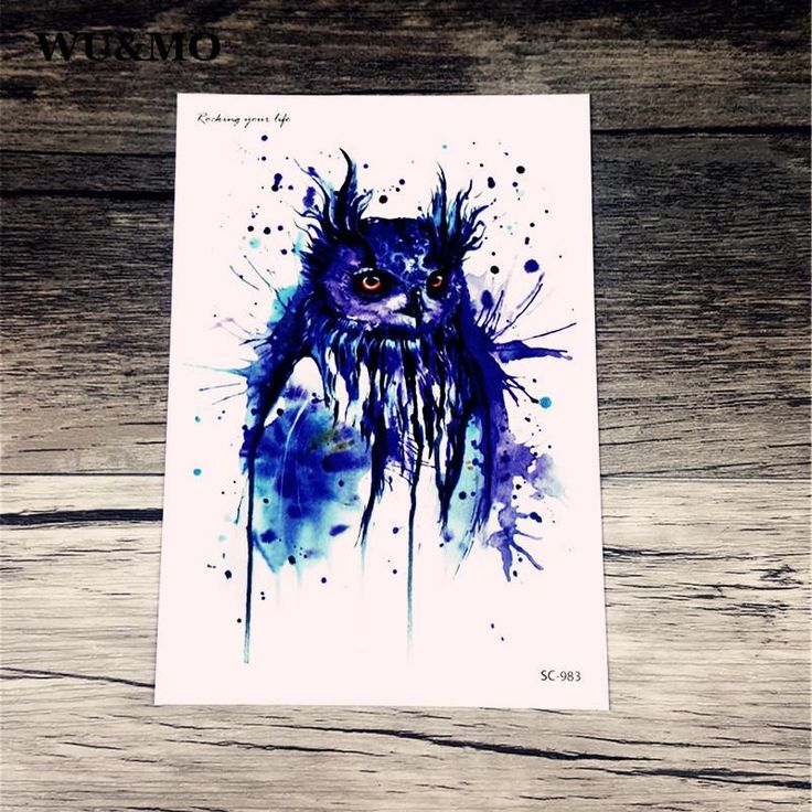 [Visit to Buy] SC2983 HD Large Taty Halloween Easter Blue Owl Water Transfer Body Art Temporary Tattoo Stickers Flash Big Tatoos tatouage WU&MO #Advertisement