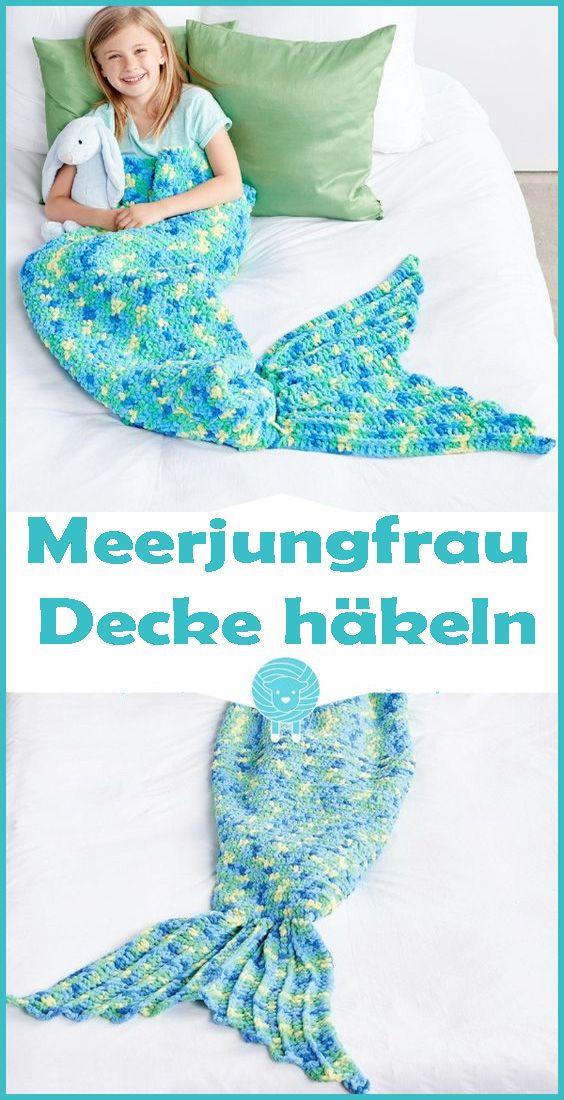 Meerjungfrau Decke häkeln – kostenlose & einfache Anleitung
