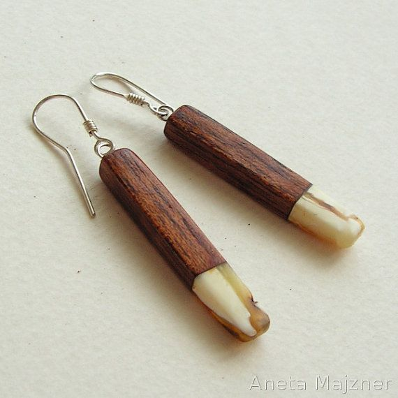 Hand carved wooden earrings with natural by AnetaMajzner on Etsy, zł62.00