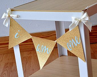 I Am One Banner - 1st Birthday Boy - I Am One High Chair Banner - Bunting Banner