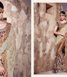 Buy chiku embroidered net saree with blouse bridal-saree online