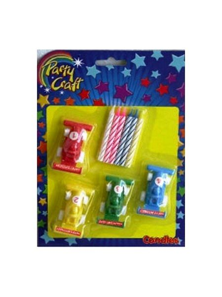 Racing Car Candle Holders with 8 Striped Party Candles