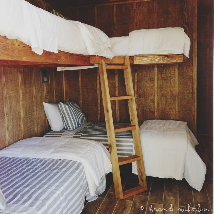 Bunkhouse beds that my hubby built, done! Love!!!