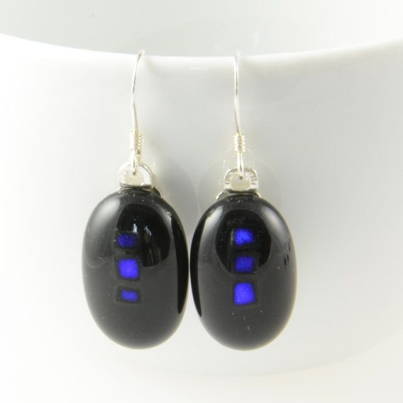 drop earrings black and purple fused dichroic by bluedaisyglass