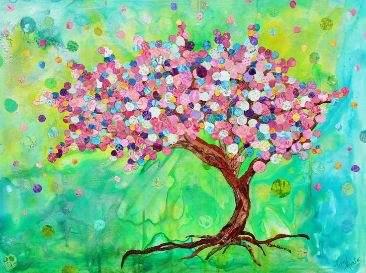 Beautiful Mixed Media Collage by Lisa Morales The Blessing Tree lisamoralesmixedmedia