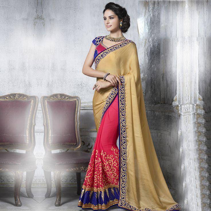 Sarees: Blue,pink art silk blouse with  border.