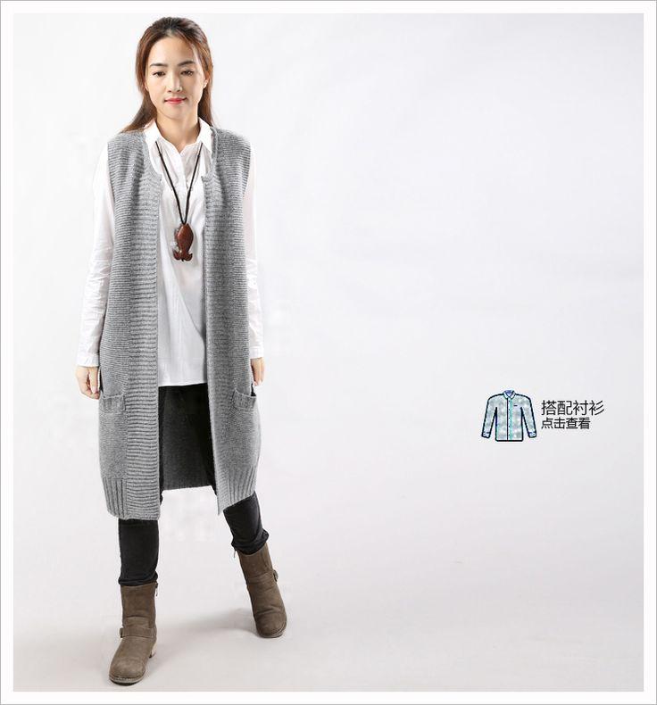 Долго 2015 новый зимний жилет без рукавов свитера жилет женские свободные большие ярдов раздел оригинального вязать кардиган жилет - Taobao