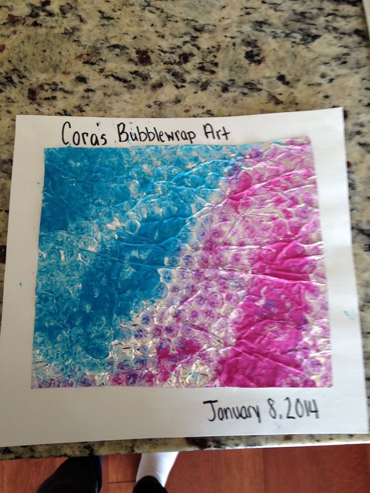 Infant Art Project: I took bubble wrap and put it in a gallon size freezer bag over foil along with two colors of paint. I had the child play with the bag then took the bubble wrap out and ta-da! Beautiful piece of work. Sensory and texture play.