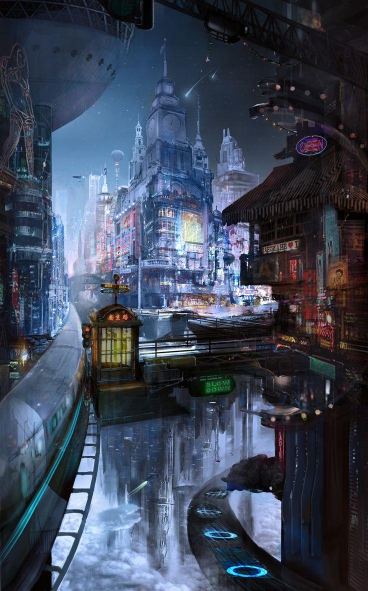 NanJing Road, zheng qiufeng on ArtStation at https://www.artstation.com/artwork/81P9O