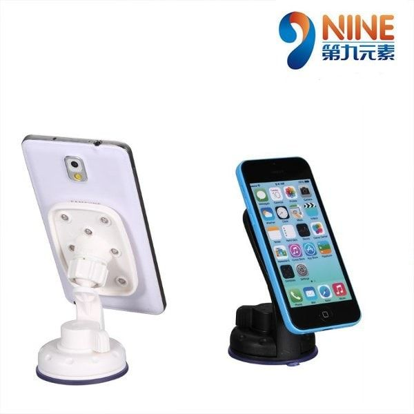 NINE 3rd GEN. Car Mounting 8 Suction Cups Phone Holder Bracket Stand For iPhone iPad. NINE 3rd GEN. Car Mounting 8 Suction Cups Adsorption Phone Holder Bracket Stand For iPhone iPad Samsung GPS  Features:  Color: Black, White. Material: PVC   ABS. 8 suction cups provide strong grasping force Rotatable tray allows 360 degree free sdjusting of angle Pressing type sucker base, easier to install and disassemble Suitable to be used both in car and at home  Compact design does not block the line…