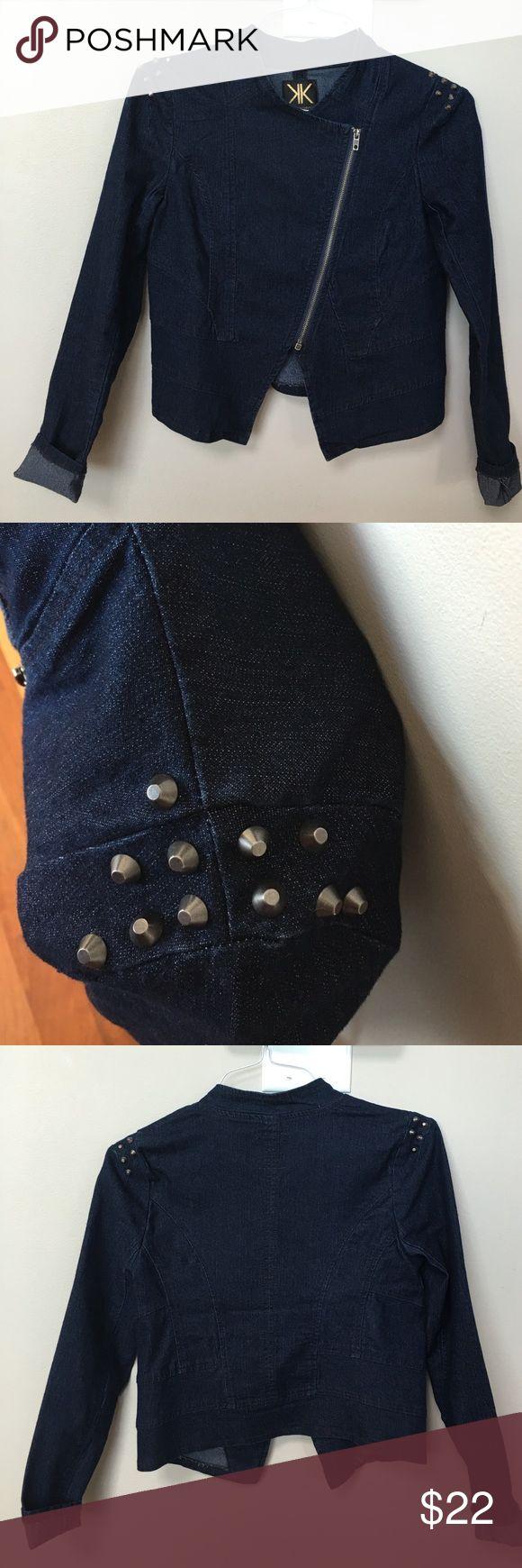 Kardashians Kollection Jean jacket Kardashians Kollection jean jacket- NWOT- never worn, studs on shoulder, zipper front,stretch, size small. Kardashian Kollection Jackets & Coats Jean Jackets