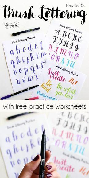 ¿Cómo hacer letras del cepillo con los entrenamientos libres Hojas de trabajo + Vídeo de instrucciones.  Descargar las hojas libres y llegar a practicar!  |  dawnnicoledesigns.com