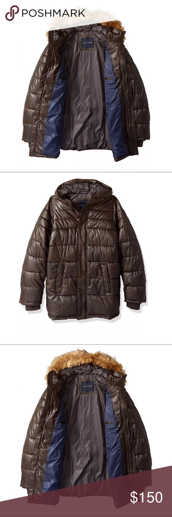 Tommy Hilfiger Men's Faux Leather Parka NEW Tommy Hilfiger Men's Tall Size Quilted Faux Leather Parka with Removable Faux Fur Trimmed Hood NEW WITH TAGS 🚫THESE ARE SIZE BIG AND TALL, SO Large Tall and 2XLT IS WHAT I HAVE 🚫 Tommy Hilfiger Jackets & Coats