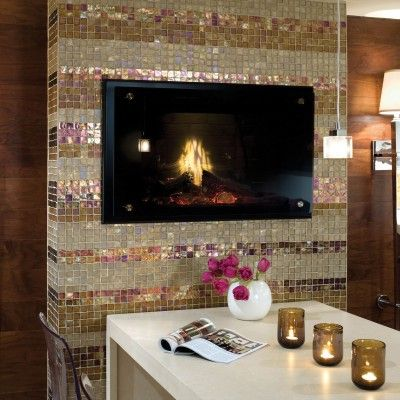 Wouldn 39 T You Just Love This Sparkly Mosaic Tile Fireplace